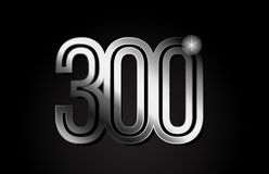 Silver metal number 300 logo icon design. Silver metal number 300 logo design suitable for a company or business royalty free illustration