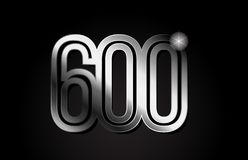 Silver metal number 600 logo icon design. Silver metal number 600 logo design suitable for a company or business royalty free illustration