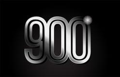 Silver metal number 900 logo icon design. Silver metal number 900 logo design suitable for a company or business vector illustration