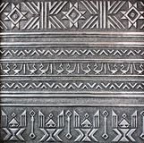 Silver metal plate. With classic ornament Stock Photo