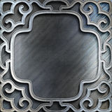 Silver metal plate with classic ornament .Vintage collection Stock Photos