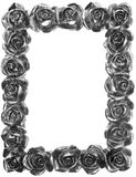 Silver Metal Rose Ornate Frame Stock Photography