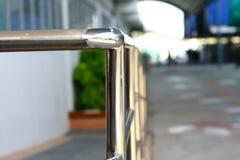 Silver metal shiny handrail. Decoration silver metal shiny handrail Stock Photo