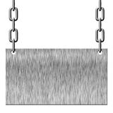 Silver metal signboard hanging on chains Royalty Free Stock Photography
