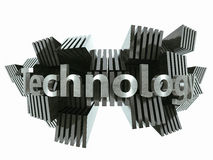 Silver metal technology sign abstract. 3d illustration Stock Photography