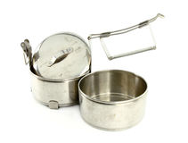 Silver Metal Tiffin separate, Food Container. On White Background Royalty Free Stock Image