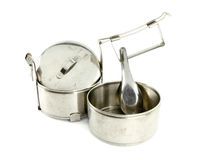 Silver Metal Tiffin separate and spoon, Royalty Free Stock Photos
