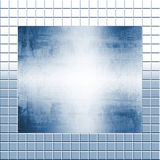Silver Metal On Tiles. Two backgrounds overlapping~~one of a sheet of shiny brushed metal, and another, a silver tiled backdrop, all in silver blue tones Royalty Free Stock Photography