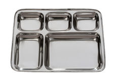 Silver Metal Tray Isolated with clipping path Stock Image