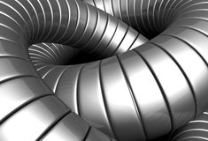 Silver metal tube abstract background. 3d illustration Royalty Free Stock Images