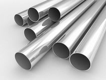 Silver or metal tubes. 3d high quality rendering Royalty Free Stock Image