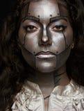 Silver metal women face royalty free stock image