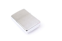 Silver metal zippo lighter  on white Stock Photos