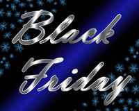 Silver metallic Black Friday title with blue snowflakes and light beam. Stock Image
