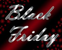 Silver metallic Black Friday title with red snowflakes and light beam. Royalty Free Stock Images