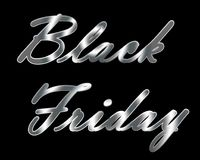 Silver metallic Black Friday title. Silver metallic Black Friday title on transparent and black isolated background royalty free illustration