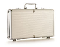 Silver metallic briefcase isolated on white Royalty Free Stock Image