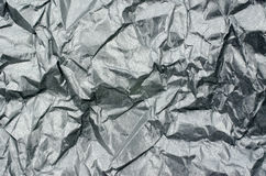 Silver Metallic Crumpled Paper Texture Background Stock Image