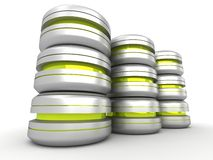 Silver metallic data packet canisters stack Stock Photography