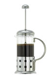 Silver metallic French press Coffee Pot with ground coffee and h Stock Photos