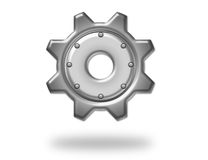 Silver metallic gear Royalty Free Stock Images