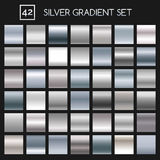 Silver metallic gradient set. Silver metallic gradient vector set. Argent or chrome metal vector gradients for fashion and design Royalty Free Stock Photography