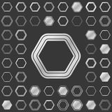 Silver metallic hexagon icon design set Royalty Free Stock Images
