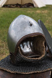 Silver and Metallic Knight Helmet Royalty Free Stock Photography
