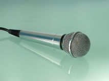 Silver metallic microphone. Royalty Free Stock Photos