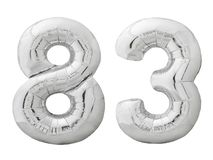 Silver number 83 eighty three made of inflatable balloon isolated on white Stock Images