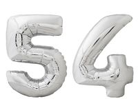 Silver number 54 fifty four made of inflatable balloon isolated on white. Silver metallic number 54 fifty four made of inflatable balloon isolated on white Royalty Free Stock Image
