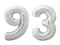 Silver number 93 ninety three made of inflatable balloon isolated on white Stock Images