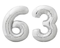 Silver number 63 sixty three made of inflatable balloon isolated on white Royalty Free Stock Photos
