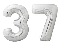 Silver number 37 thirty seven made of inflatable balloon isolated on white. Silver metallic number 37 thirty seven made of inflatable balloon isolated on white Royalty Free Stock Images