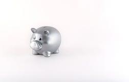Silver Metallic Piggy Bank Stock Photos