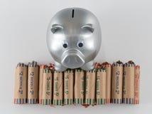 Silver Metallic Piggy Bank With Wrapped Coins Stock Photos