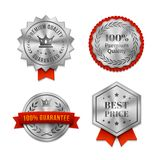 Silver metallic Quality badges or labels. Set of silver metallic Quality badges or labels in various shapes with red ribbons and text guaranteeing the quality of vector illustration