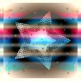 Silver metallic star. Silver, 5-point metallic star with artistic red, blue and silver background Royalty Free Stock Image