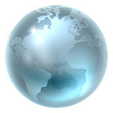 Silver Metallic World Earth Globe Royalty Free Stock Photo