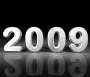 Silver metallic year 2009. Silver metallic 3D year 2009 on a black reflective background Royalty Free Stock Photo