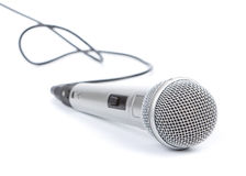 Silver microphone. On a white background royalty free stock photos