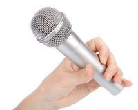Silver microphone stock image
