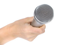 Silver microphone royalty free stock photography