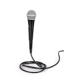 Silver microphone with black wire Royalty Free Stock Photography