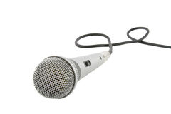 Silver microphone with cable royalty free stock images