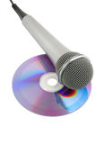 Silver microphone and cd isolated. On white background royalty free stock photo