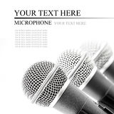 Silver microphone. Triple silver microphone isolated on white background stock images