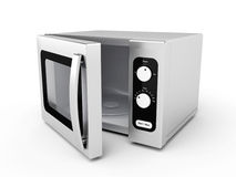 Silver microwave oven. With open door on white background Stock Photography
