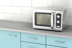 Silver microwave oven Royalty Free Stock Photos