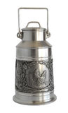 Silver Milk can with bas-relief Stock Photos